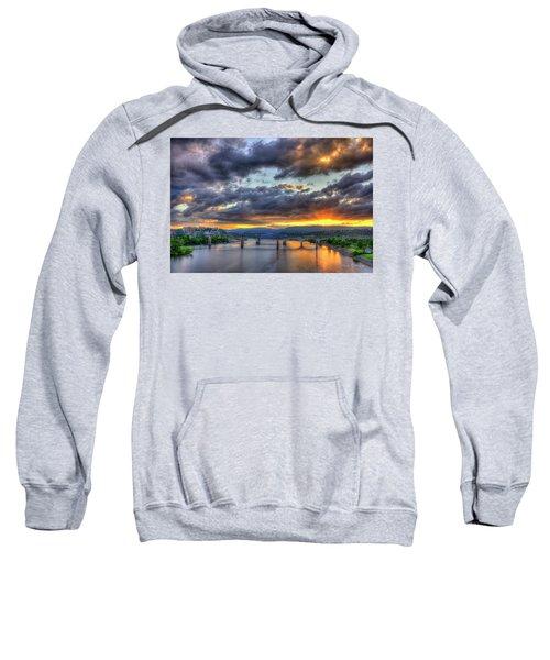 Sunset Bridges Of Chattanooga Walnut Street Market Street Sweatshirt