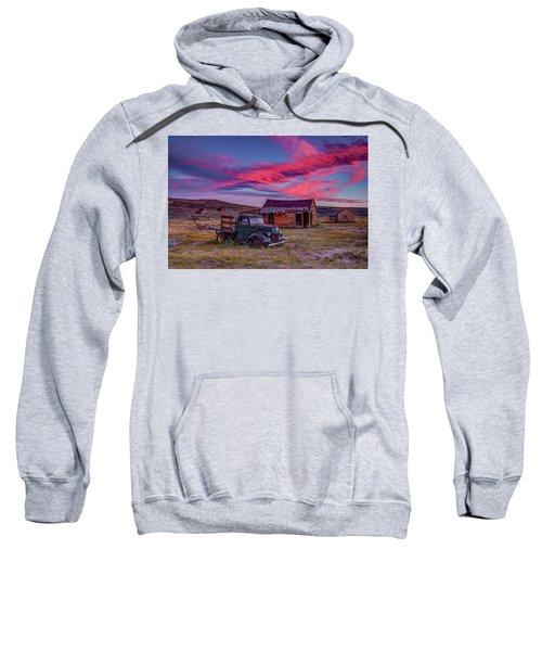 Sunset Over Bodie's Green Truck Sweatshirt