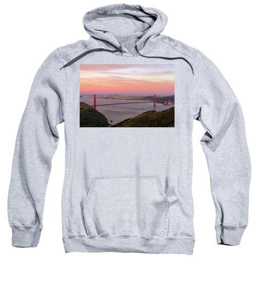 Sunset Over Golden Gate Bridge And San Francisco Skyline Sweatshirt