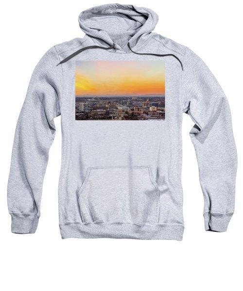 Sunset Over Portland Cityscape And Mt Saint Helens Sweatshirt