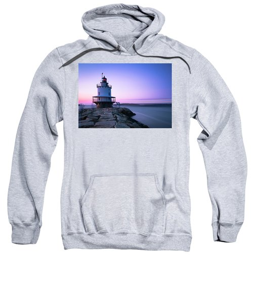 Sunset Over Spring Breakwater Lighthouse In South Maine Sweatshirt