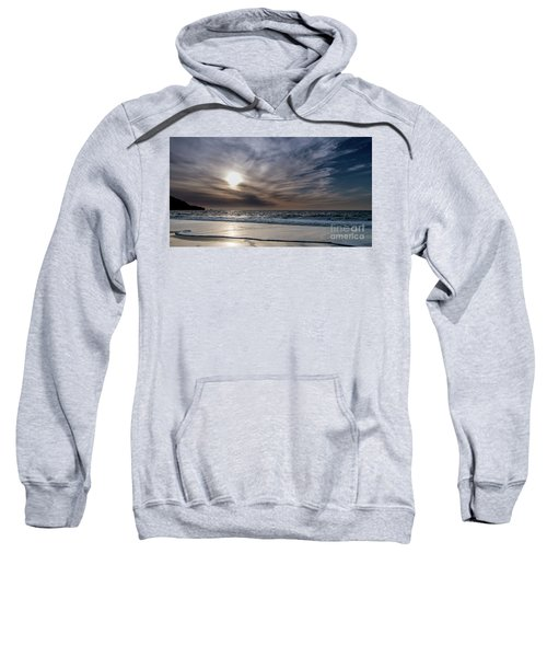 Sunset Over West Coast Beach With Silk Clouds In The Sky Sweatshirt