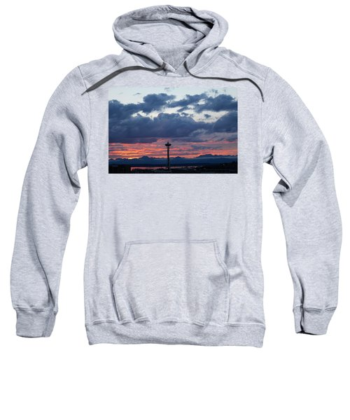 Sunset Red Clouds And Space Needle Sweatshirt