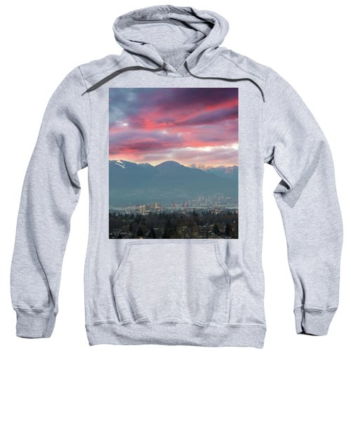 Sunset Sky Over Port Of Vancouver Bc Sweatshirt