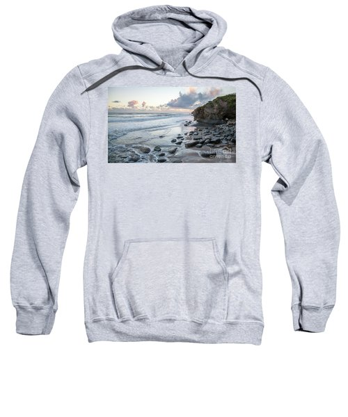 Sunset View In The Distance With Large Rocks On The Beach Sweatshirt
