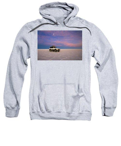 Lake Uyuni Sunset With Car Sweatshirt