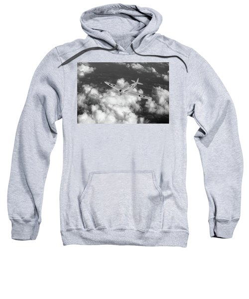 Sweatshirt featuring the photograph Supermarine Spitfire Prototype K5054 Black And White Version by Gary Eason