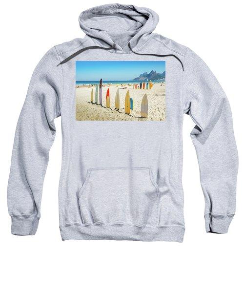 Surfboards On Ipanema Beach, Rio De Janeiro Sweatshirt