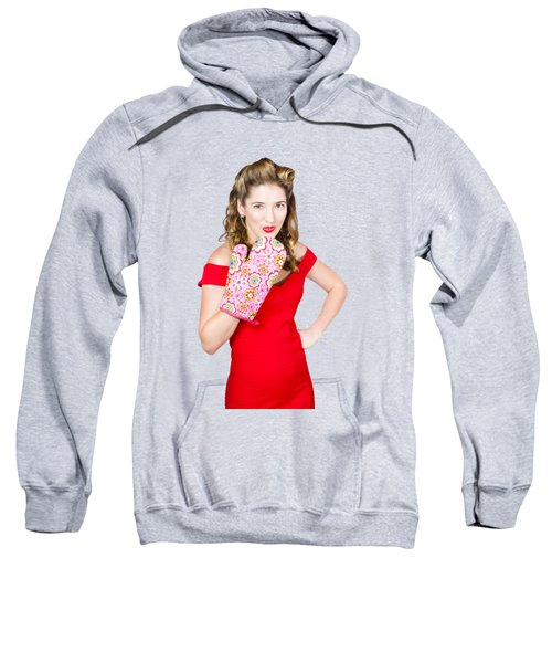Sweatshirt featuring the photograph Surprise Cooking Pinup Woman With Cook Mitt by Jorgo Photography - Wall Art Gallery