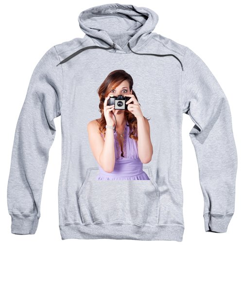 Sweatshirt featuring the photograph Surprised Woman Taking Picture With Old Camera by Jorgo Photography - Wall Art Gallery