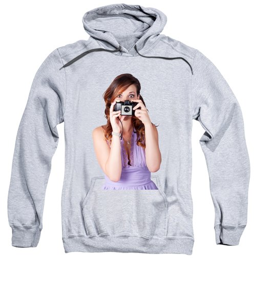 Surprised Woman Taking Picture With Old Camera Sweatshirt