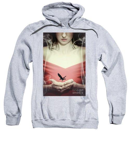 Surreal Image Of Woman With Bird Sweatshirt
