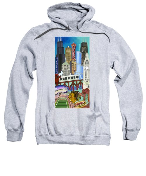Sweatshirt featuring the painting Sweet Home Chicago by Carla Bank