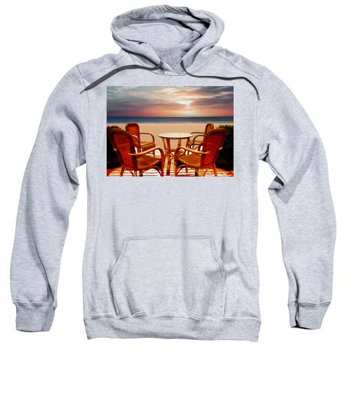 Table For Four At The Beach At Sunset Sweatshirt
