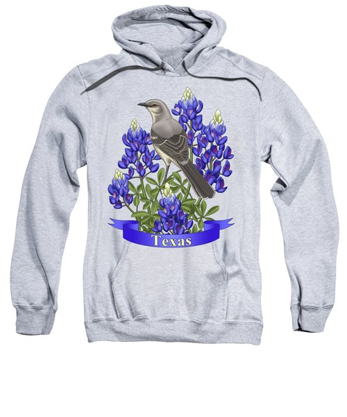 Texas State Mockingbird And Bluebonnet Flower Sweatshirt by Crista Forest