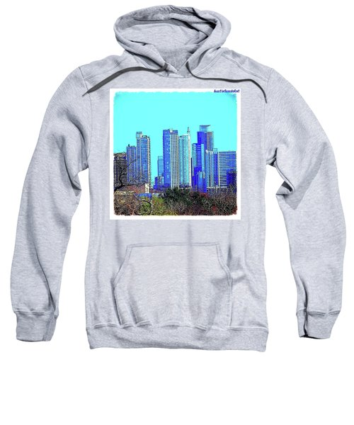 The #austin #skyline On A Sunny, Cold Sweatshirt by Austin Tuxedo Cat