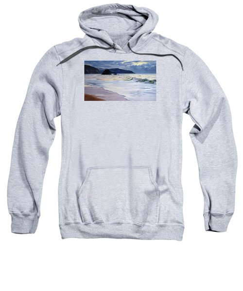 Sweatshirt featuring the painting The Black Rock Widemouth Bay by Lawrence Dyer