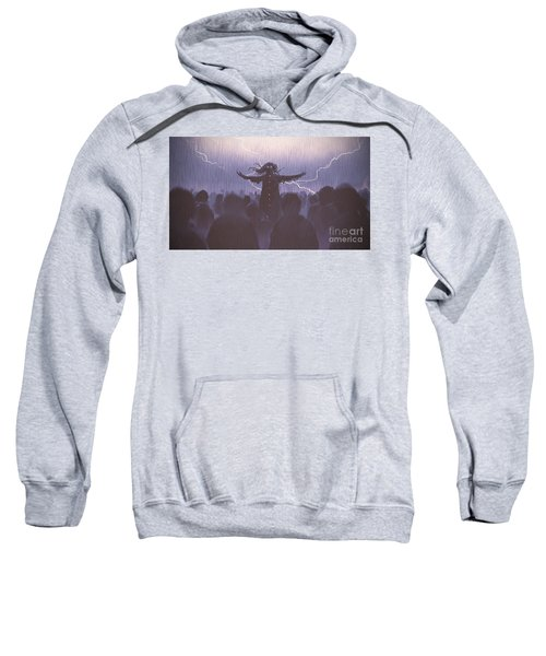 Sweatshirt featuring the painting The Black Wizard by Tithi Luadthong