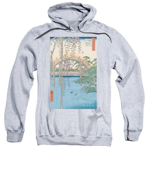 The Bridge With Wisteria Sweatshirt by Hiroshige
