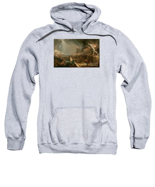 Sweatshirt featuring the painting The Course Of Empire Destruction by Thomas Cole