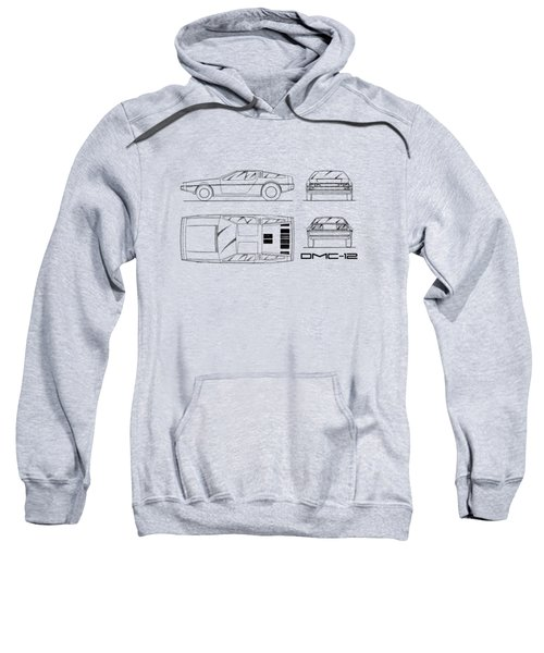 The Delorean Dmc-12 Blueprint - White Sweatshirt by Mark Rogan