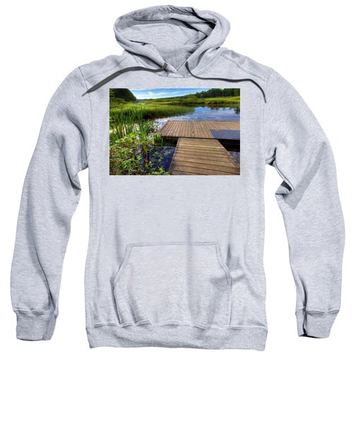The Dock At Mountainman Sweatshirt by David Patterson