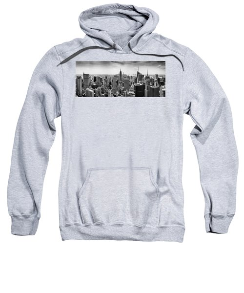 New York City Skyline Bw Sweatshirt by Az Jackson