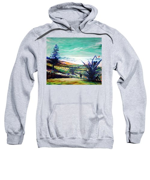 Sweatshirt featuring the painting The Lawn Pandanus by Winsome Gunning