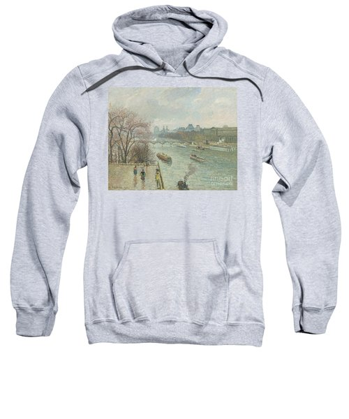 The Louvre, Afternoon, Rainy Weather, 1900  Sweatshirt