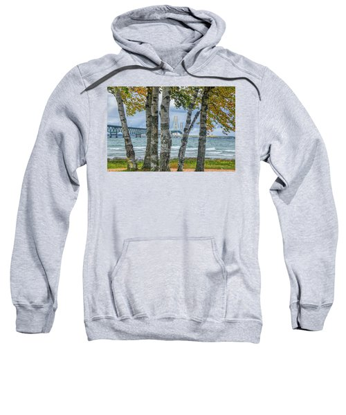 The Mackinaw Bridge By The Straits Of Mackinac In Autumn With Birch Trees Sweatshirt