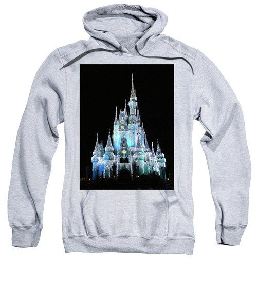 The Magic Kingdom Castle In Frosty Light Blue Walt Disney World Mp Sweatshirt by Thomas Woolworth
