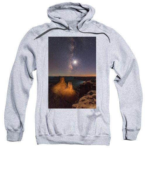 The Milky Way And The Moon From Marlboro Point Sweatshirt