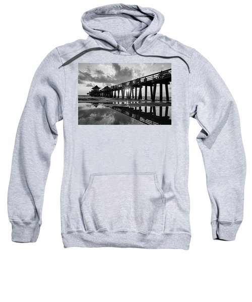 Naples Pier At Sunset Naples Florida Black And White Sweatshirt