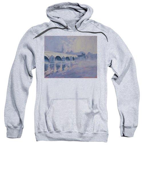 The Old Bridge In Morning Fog Maastricht Sweatshirt