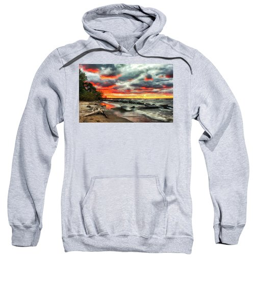 The Sky On Fire At Sunset On Lake Erie Sweatshirt