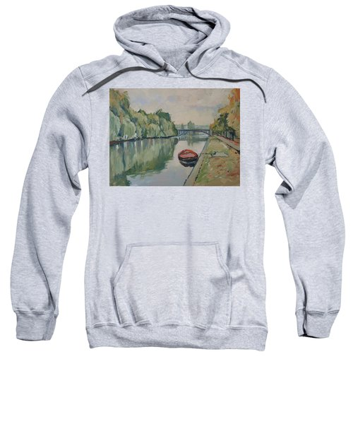 The Small Boat Along The Quai Of Halage Vise Sweatshirt