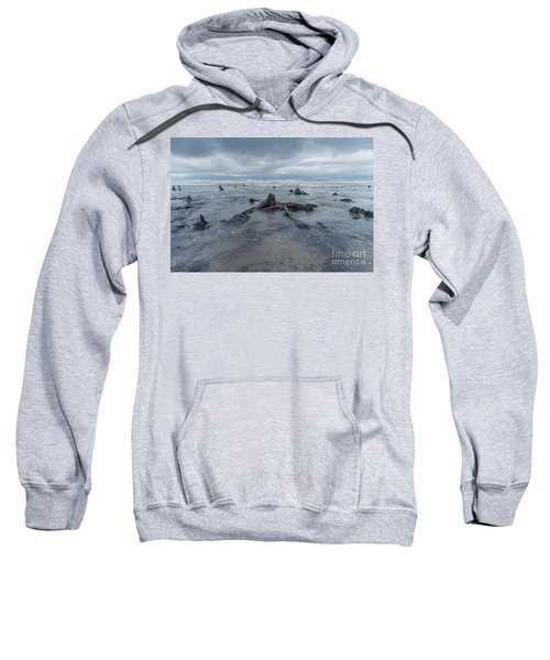 The Tide Comes In Over The Bronze Age Sunken Forest At Borth On The West Wales Coast Uk Sweatshirt