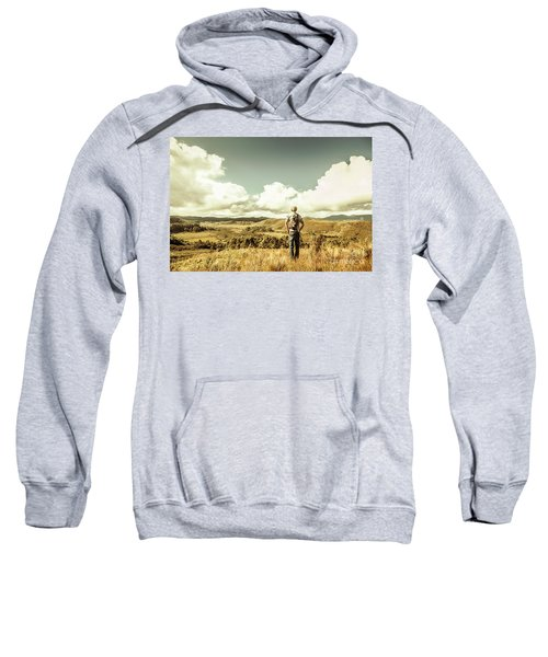 Tourist With Backpack Looking Afar On Mountains Sweatshirt