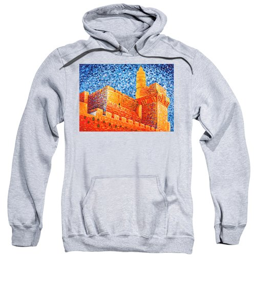Sweatshirt featuring the painting Tower Of David At Night Jerusalem Original Palette Knife Painting by Georgeta Blanaru