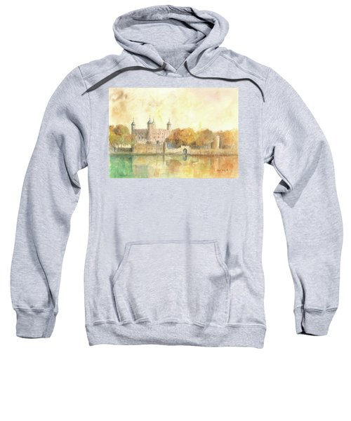 Tower Of London Watercolor Sweatshirt by Juan Bosco