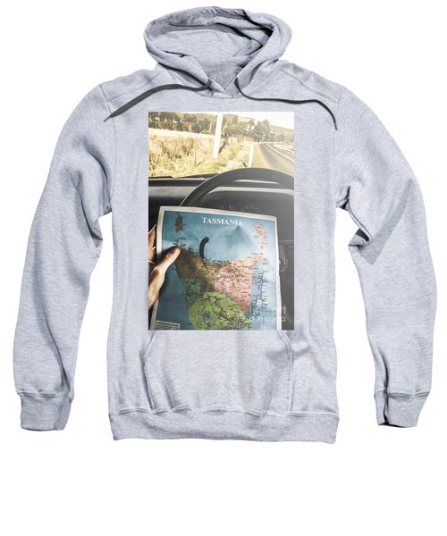 Travelling Tourist With Map Of Tasmania Sweatshirt