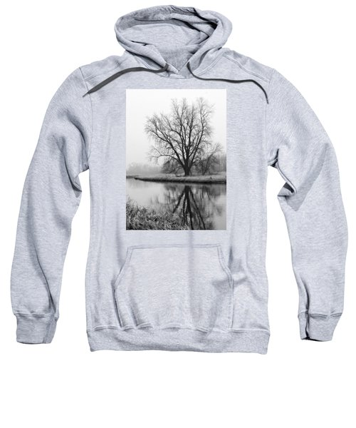 Tree Reflection In The Fox River On A Foggy Day Sweatshirt