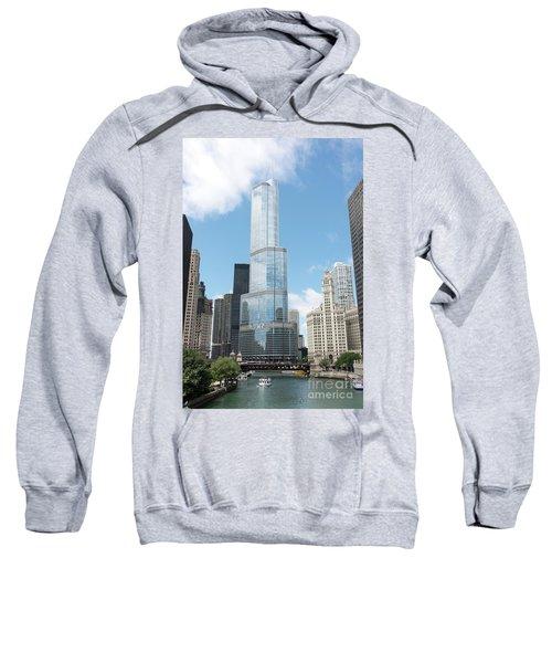 Trump Tower Overlooking The Chicago River Sweatshirt