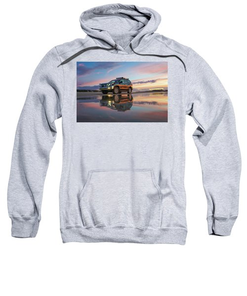 Twilight Beach Reflections And 4wd Car Sweatshirt