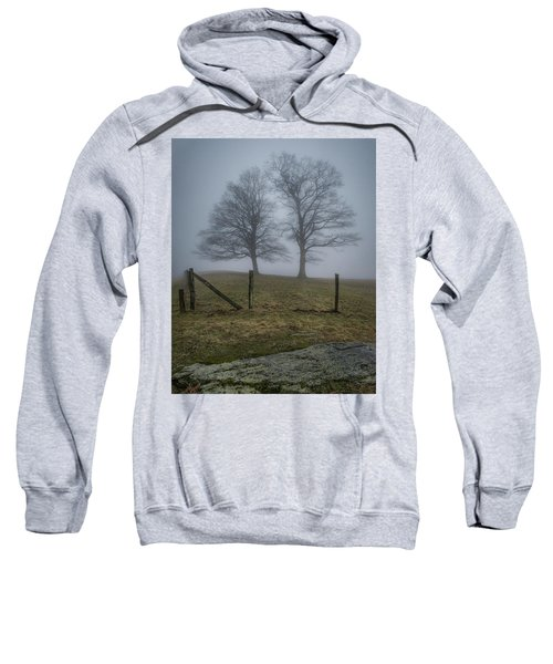 Twin Trees Late Fall Foggy Morning Sweatshirt