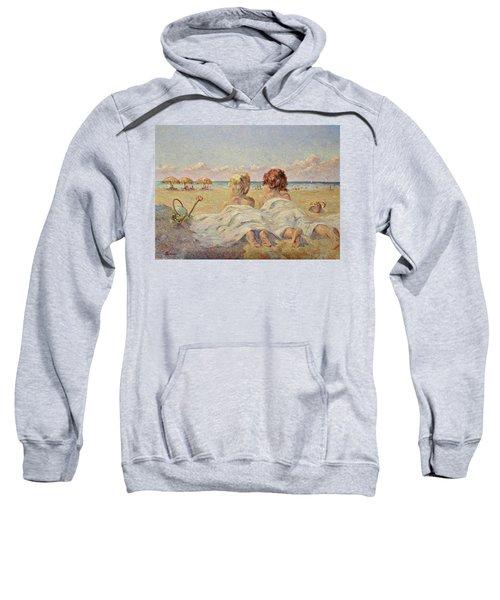 Two Children On The Beach Sweatshirt