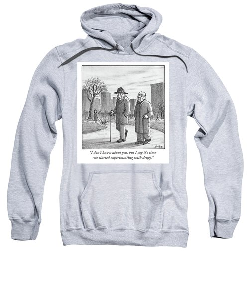 Two Older Men Walk With Canes Through A Park. Sweatshirt