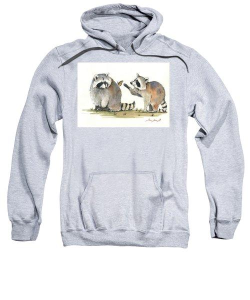 Two Raccoons Sweatshirt by Juan Bosco