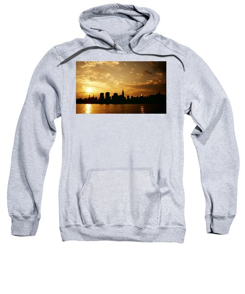 Two Suns - The New York City Skyline In Silhouette At Sunset Sweatshirt