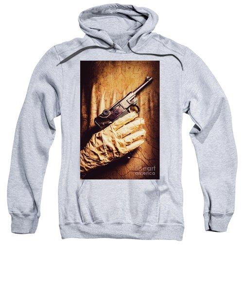 Undead Mummy  Holding Handgun Against Wooden Wall Sweatshirt